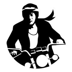 Man riding Motorcycle, logo, Icon, Vector