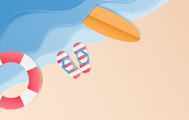 Topview of the beach with sandals, surfboard,Swim Tube. Summer background, Paper art style. Vector illustration