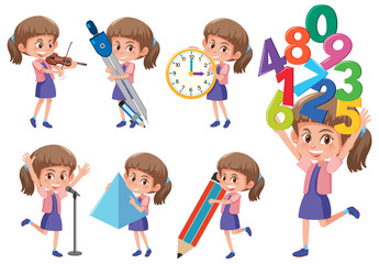 Set of girl with math object