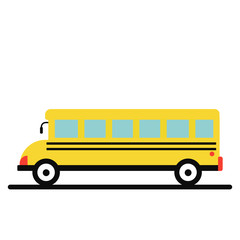 Vector illustration of yellow school bus, right side view. Isolated transport vehicle on white background