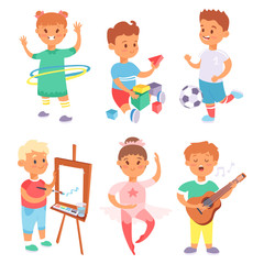 Children playing vector different types of home games little kids play summer outdoor active leisure childhood activity.