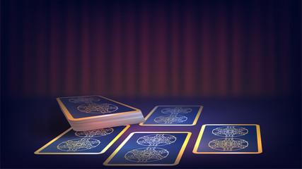 Tarot on the fortune-teller's table, prediction of the future, dark magic, magic cards