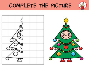 Complete the picture of a little girl in the carnival costume Christmas tree. Copy the picture. Coloring book. Educational game for children. Cartoon vector illustration