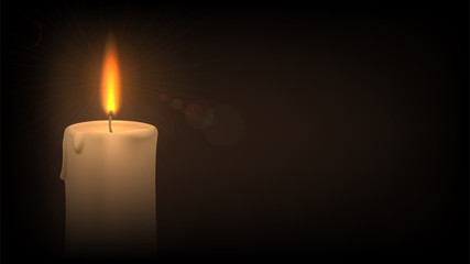 Candle in the dark. Concept: sorrow, grief, prayer