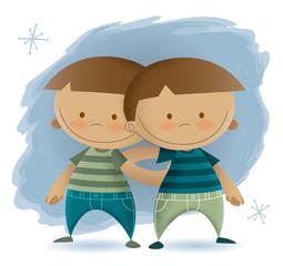 Retro Modern Illustration of Twin Boys