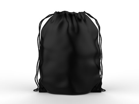 Blank Drawstring Polyester Tote Bag for branding. 3d render illustration.