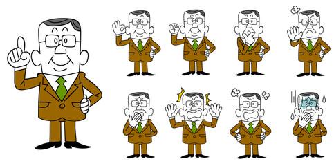 眼鏡をかけてスーツを着た管理職の中年男性 9種類のポーズと表情のセット