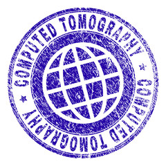 COMPUTED TOMOGRAPHY stamp print with grunge texture. Blue vector rubber seal print of COMPUTED TOMOGRAPHY tag with retro texture. Seal has words arranged by circle and globe symbol.