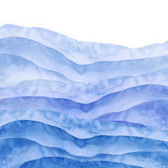 In de dag Abstract wave Watercolor line of blue paint, splash, smear, blot, abstraction. Used for a variety of design and decoration. Strokes of paint, lines, splash. Horizontal line,background. Blue sea, Hill, fog mountain