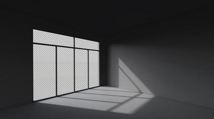 Dark room space background.