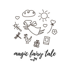 Princess concept with fairy, magic wand, butterfly and lettering. vector illustration in doodle style
