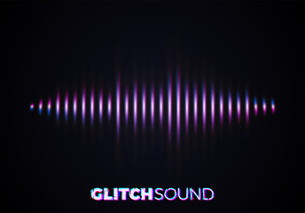 Audio or sound wave with music volume peaks and color glitch effect