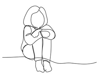 continuous line drawing of women sitting sad heartbroken