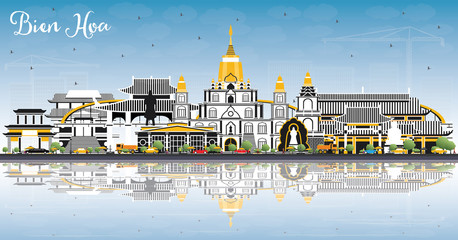 Bien Hoa Vietnam City Skyline with Gray Buildings, Blue Sky and Reflections.