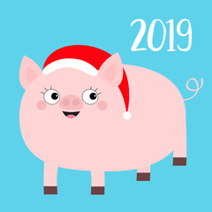 Happy New Year 2019. Pig wearing red Santa hat. Chinise symbol. Cute cartoon funny character. Flat design. Blue background. Isolated.