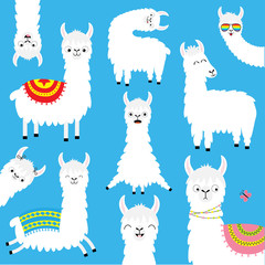 Llama alpaca bigset. Face glassess. Childish baby collection. Cute cartoon kawaii funny character. Fluffy hair fur. T-shirt, greeting card, poster template print. Flat design. Blue background.