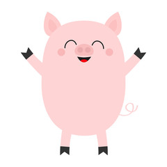 Pink pig. Cute cartoon funny baby character. Smiling face. Hog swine sow animal. Chinise symbol of 2019 new year. Zodiac sign. Flat design. White background. Isolated.