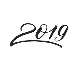 Happy New Year 2019 calligraphy lettering for greeting card, poster, banner design