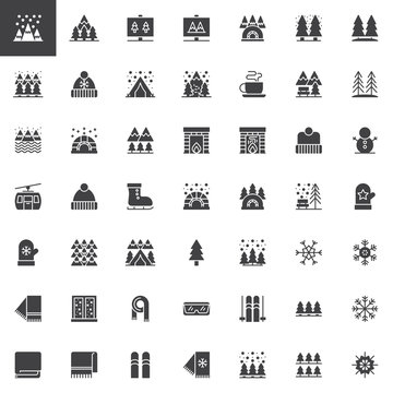 Winter elements vector icons set, modern solid symbol collection, filled style pictogram pack. Signs, logo illustration. Set includes icons as Snowy Mountain Peaks, Pine trees forest, winter hat