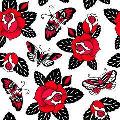 Seamless vector pattern with tattoo roses and butterflies on white background.