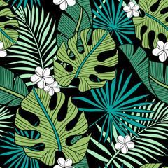Hand drawn seamless vector pattern with tropical palm leaves and exotic flowers  on black background. Perfect for fabric, wallpaper or wrapping paper.