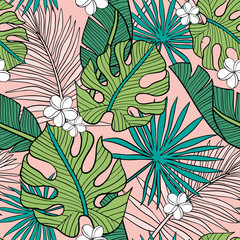 Hand drawn seamless vector pattern with tropical palm leaves and exotic flowers  on pink background. Perfect for fabric, wallpaper or wrapping paper.