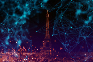 Connected City Concept with Paris