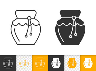 Honey glass Jar simple black line jam vector icon