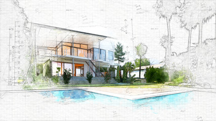 architectural sketch of a house Fotomurales