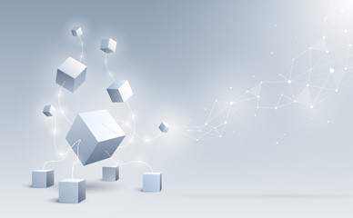 Abstract 3d cubes and background. A connection of geometric big and small cubes. Science and Blockchain technology. Big data and Internet connection. Vector illustration.