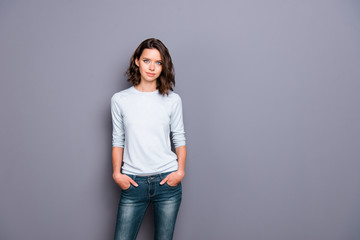 Wall Mural - Photo portrait of gorgeous nice adorable good-looking lady with