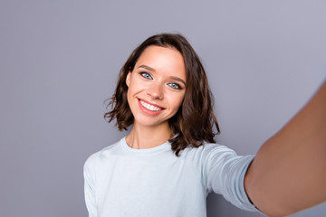 Wall Mural - Close up portrait of social influencer lady with her modern hair