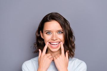 Close up photo portrait of cheerful glad positive lady with her  Wall mural