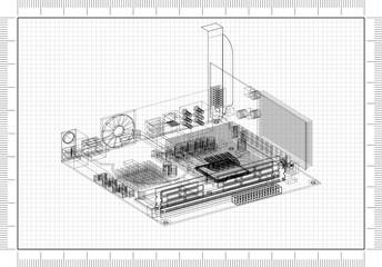 Computer Motherboard Design Architect Blueprint