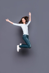 Wall Mural - Full legs body size vertical half turn movement action gorgeous