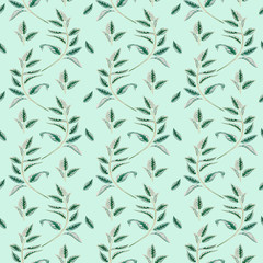Herbal seamless pattern on mint background. Can be used for wallpapper, design, scrapbooking and other objects. Botanical art.