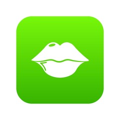 Lips icon green vector isolated on white background