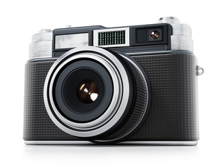Vintage camera isolated on white background. 3D illustration