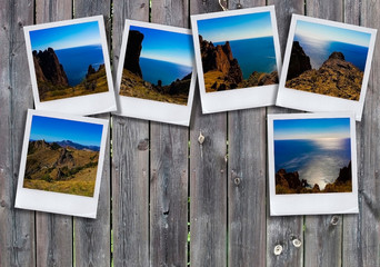 Photo collage on wooden background. View of the sea coast, mountain ranges. The concept of tourism. Place for inscription.