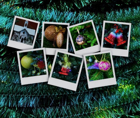 Winter photo collage on a dark background. New Year Christmas holidays. With copy space.