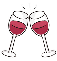 赤ワインでカンパイのイラスト素材