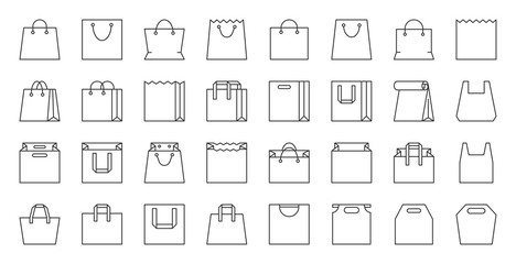 Shopping Bag simple black line icons vector set