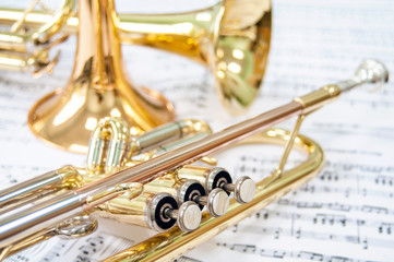 Still life. Three golden trumpets. Two lie on the notes and one trumpet stands. Brass Trio. Wall mural