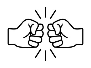 Bro fist bump or power five pound line art vector icon for apps and websites