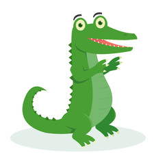 A cute crocodile dancing with his foot