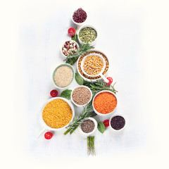 Christmas Tree made of healthy Food