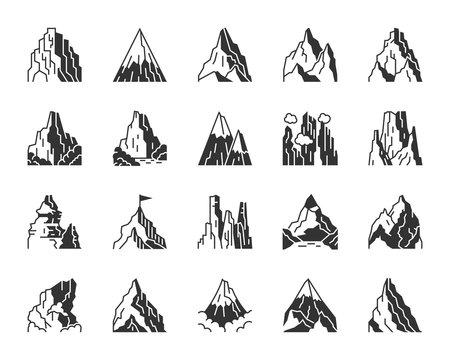 Mountain climbing black silhouette icon vector set