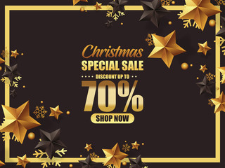 LUXURY CHRISTMAS SALE DESIGN ILLUSTRATION WITH GOLD AND BLACK STARS