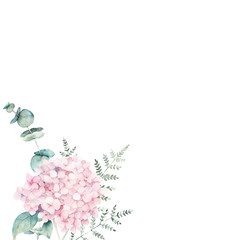 Watercolor floral card with eucalyptus branch, hydrangea and fern. Hand drawn botanical illustration. Art background