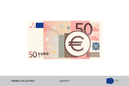 50 Euro Banknote. Flat style highly detailed vector illustration. Isolated on white background. Suitable for print materials, web design, mobile app and infographics.